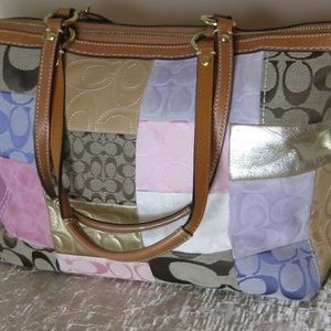 Coach Patchwork Tote double leather strap handbag